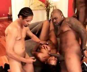 Hot gangbang action with an...