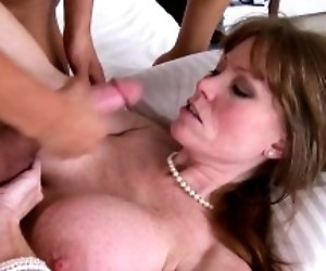 Bigtitted mature lady trio...