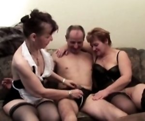 Two Grannies In Threesome...