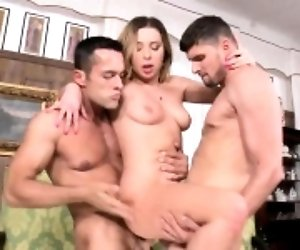 Ally wanted both of her holes to be drilled by two fat dicks