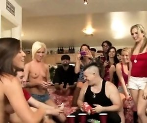 Chap is drilling loving holes of cutie during gangbang