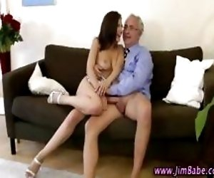 Older guy fucks brunette babe