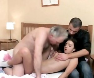 Young active beauty blows old knob